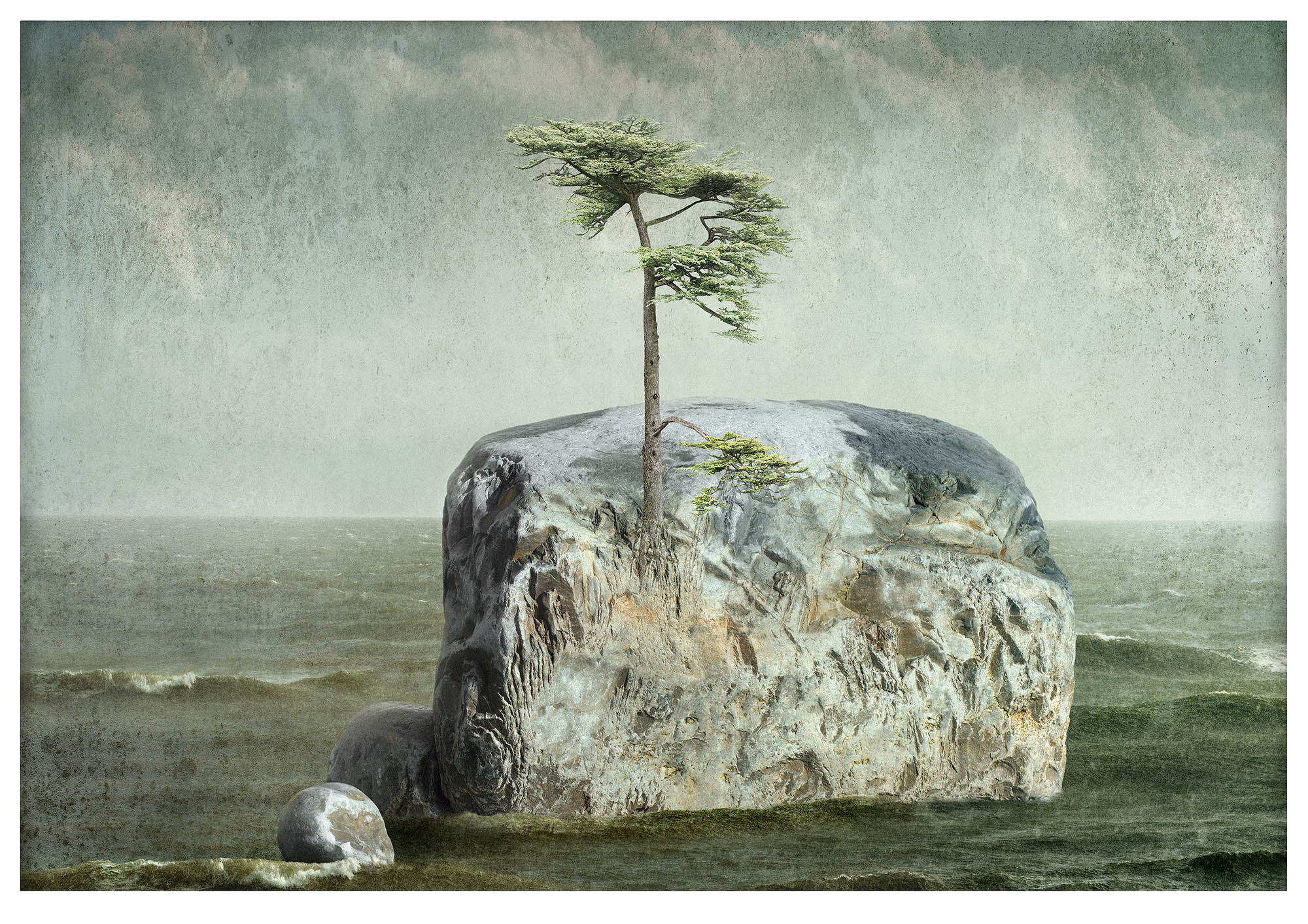 Monotoned illustrative fantasy composite photograph with one small islands with one pine tree in middle of a sea