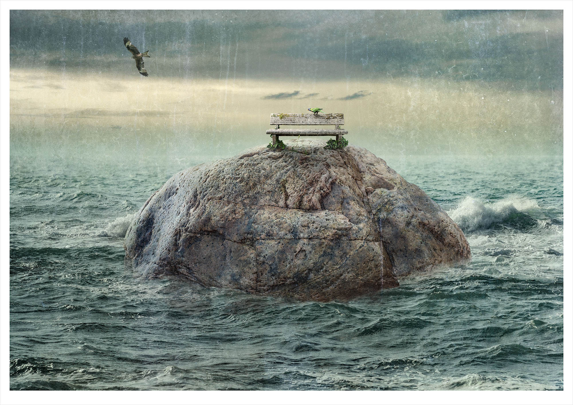 Solitary small fantasy island in ocean with stone bench on which a parrot sits warding off a predatory hawk
